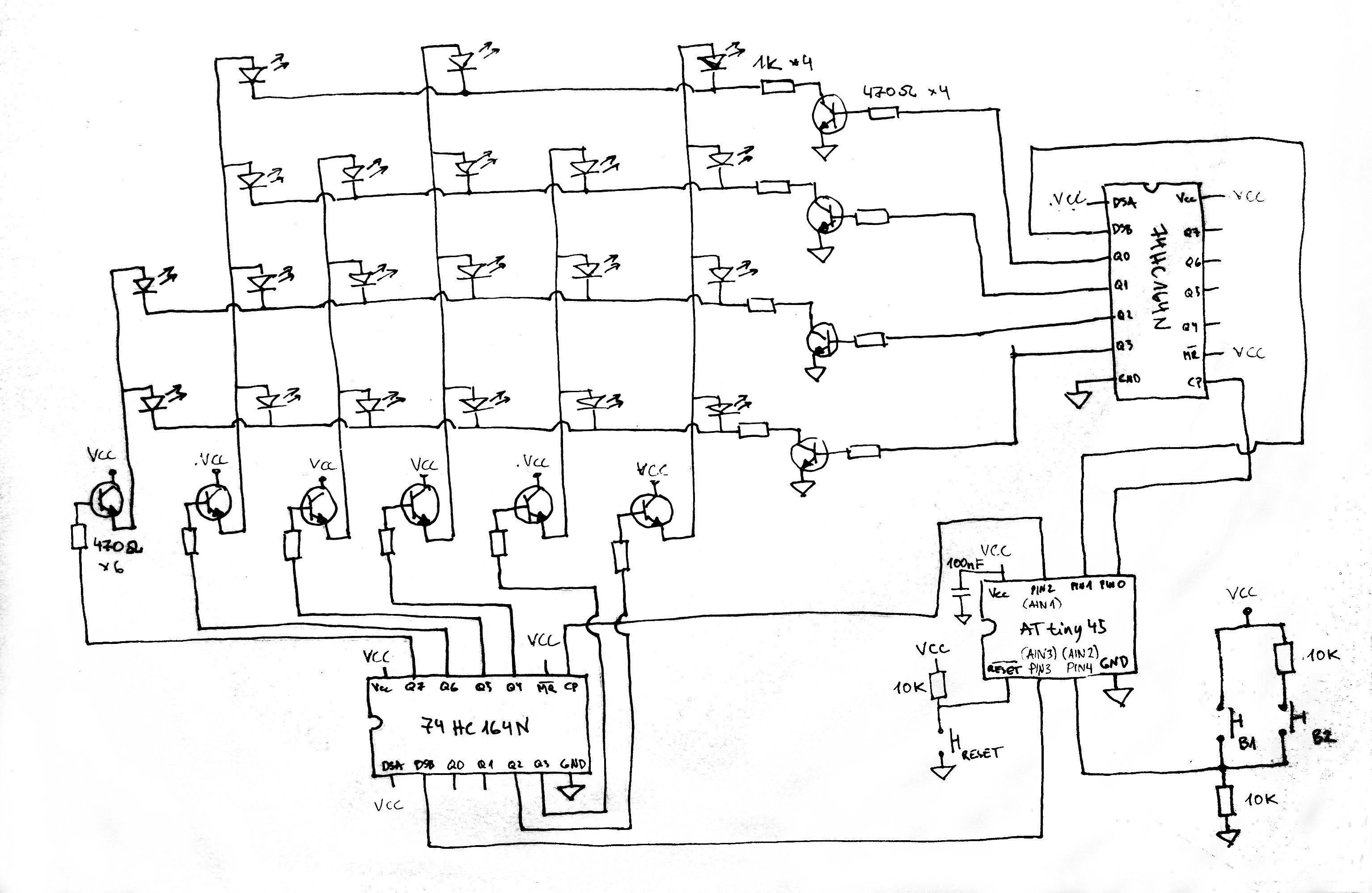 Binary clock (ATtiny85, shift registers) | libahunt ee