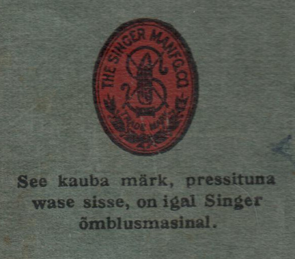 Pilt Singeri kasutusjuhendi tagakaanelt